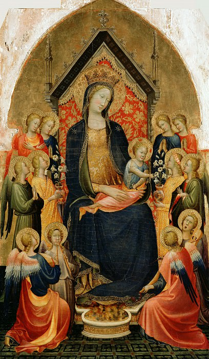 Старнина, Джерардо ди Якопо (Флоренция ок1354 - 1409-13) - Мадонна с младенцем и музыцирующие ангелы (87х50 см) ок1410. J. Paul Getty Museum