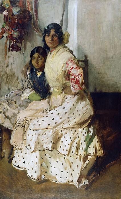 Соролла-и-Бастида Хоакин (1863 Валенсия - 1923 Мадрид) - Цыганка Пепилла с дочерью (181х110 см) 1910. Музей Гетти