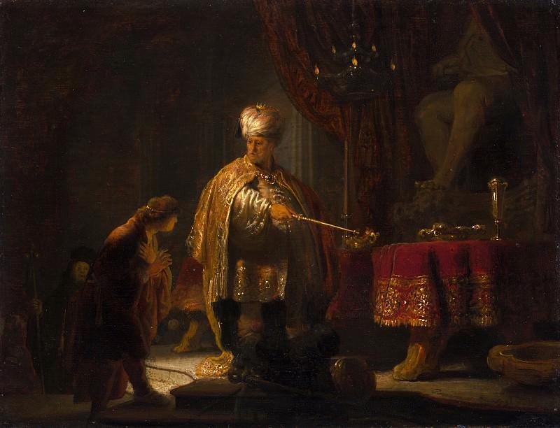 Даниил и царь Кир у идола Ваала (23х30 см) 1633. Rembrandt Harmenszoon Van Rijn