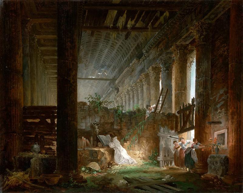 Робер Юбер (Париж 1733-1808) - Молящийся отшельник в руинах древнеримского храма (58х71 см) ок1760. Музей Гетти