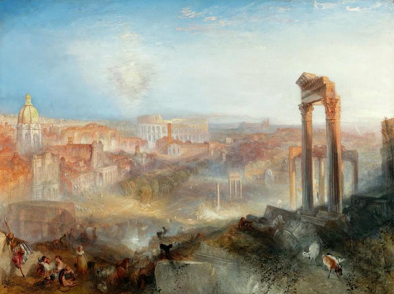 Тернер Джозеф Мэллорд Вильям (1775 Лондон - 1851 Челси) - Современный Рим - Кампо Ваччино (92х122 см) 1839. Музей Гетти