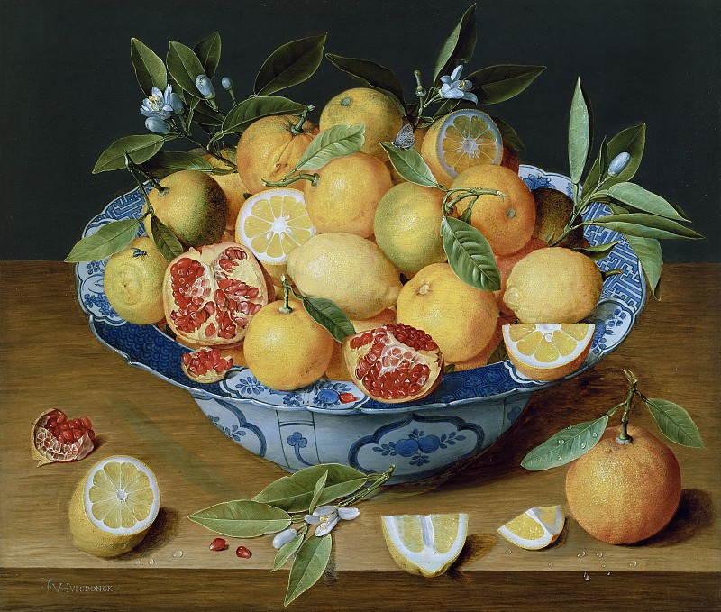 Хюльсдонк Якоб ван (Антверпен 1582-1647) - Натюрморт с лимонами, апельсинами и гратами (42х49 см) 1620-40. Музей Гетти