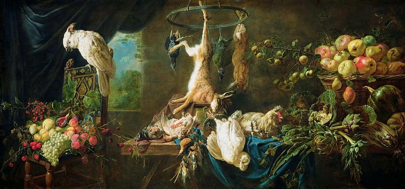 Утрехт Адриан ван (Антверпен 1599-1652) - Натюрморт с дичью, овощами, фруктами и какаду (117х249 см) 1650. J. Paul Getty Museum