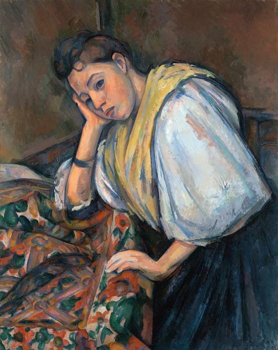 Сезанн Поль (Экс-ан-Прованс 1839-1906) - Итальянка у стола (92х73 см) 1895-00. J. Paul Getty Museum