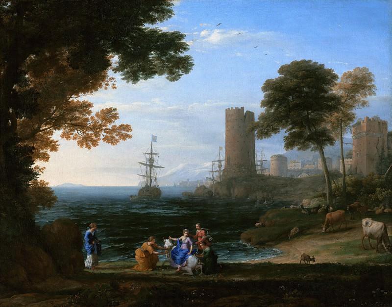 Лоррен Клод (Клод Желле) (1600 Шампань - 1682 Рим) - Береговой пейзаж с похищением Европы (96х122 см) ок1645. J. Paul Getty Museum