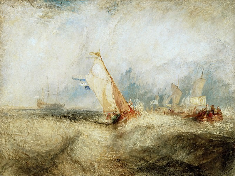 Тернер Джозеф Мэллорд Вильям (1775 Лондон - 1851 Челси) - Возвращение Мартена Тромпа в голландский флот (91х122 см) 1844. Музей Гетти
