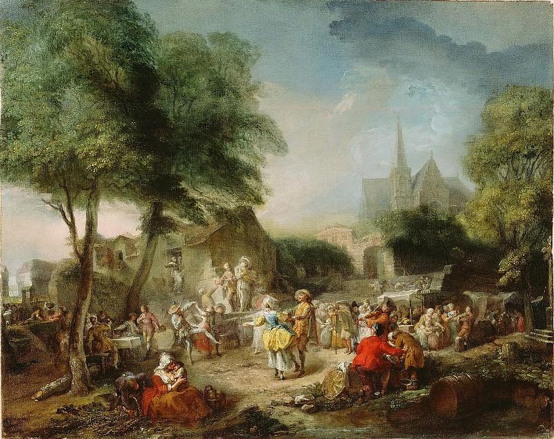Сент-Обен Габриэль де (Париж 1724-1780) - Сельский танец (51х64 см) 1760-62. J. Paul Getty Museum