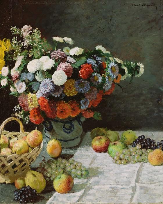 Моне Клод-Оскар (1840 Париж - 1926 Живерни) - Цветы и фрукты (100х80 см) 1869. J. Paul Getty Museum