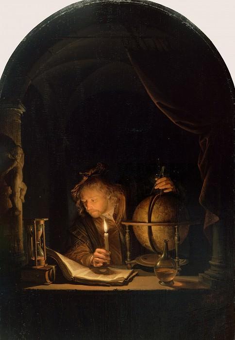 Доу Геррит (Лейден 1613-1675) - Астроном со свечой (32х21 см) 1655-60. J. Paul Getty Museum
