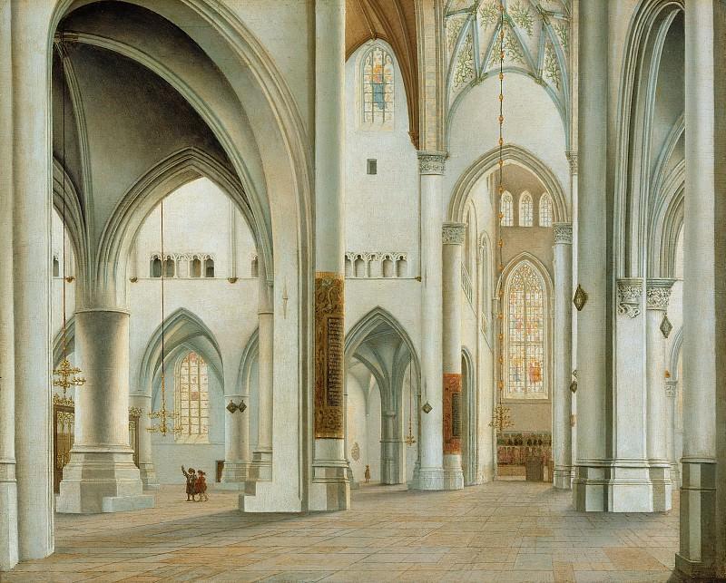 Санредам Питер Янс (1597 Ассенделфт - 1665 Харлем) - Интерьер церкви св Бавона в Харлеме (38х47 см) 1628. Музей Гетти