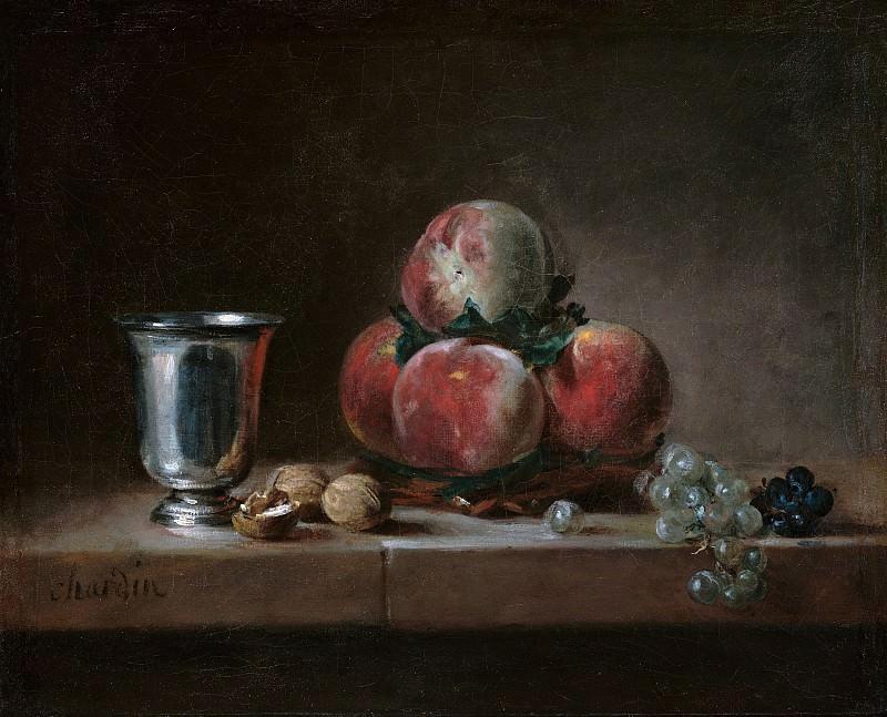 Шарден Жан-Батист-Симеон (Париж 1699-1779) - Натюрморт с персиками, серебряным кубком, виноградом и грецкими орехами (38х46 см) ок1760. J. Paul Getty Museum
