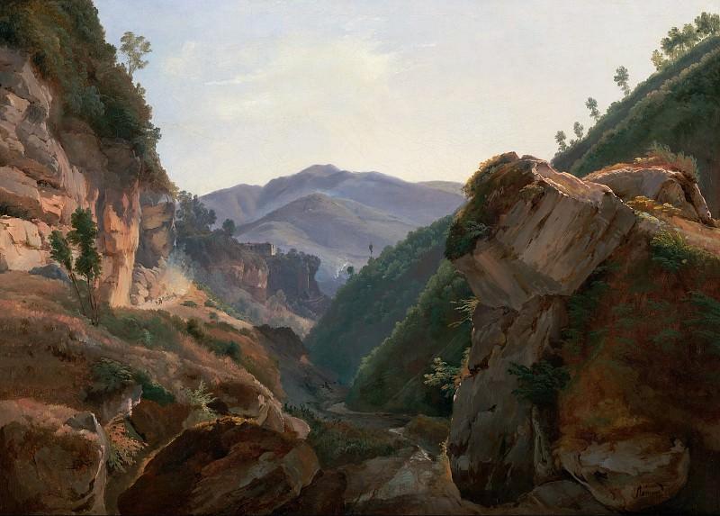 Ремон Жан-Шарль-Жозеф (Париж 1795-1875) - Скалистый пейзаж с дорогой в Неаполь (53х75 см) 1821-25. Музей Гетти