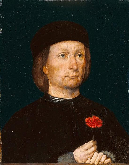 Зиттов Михаэль (Ревель Эстония ок 1468 - 1525-26) - Портрет мужчины с гвоздикой (25х18 см) ок1500. J. Paul Getty Museum