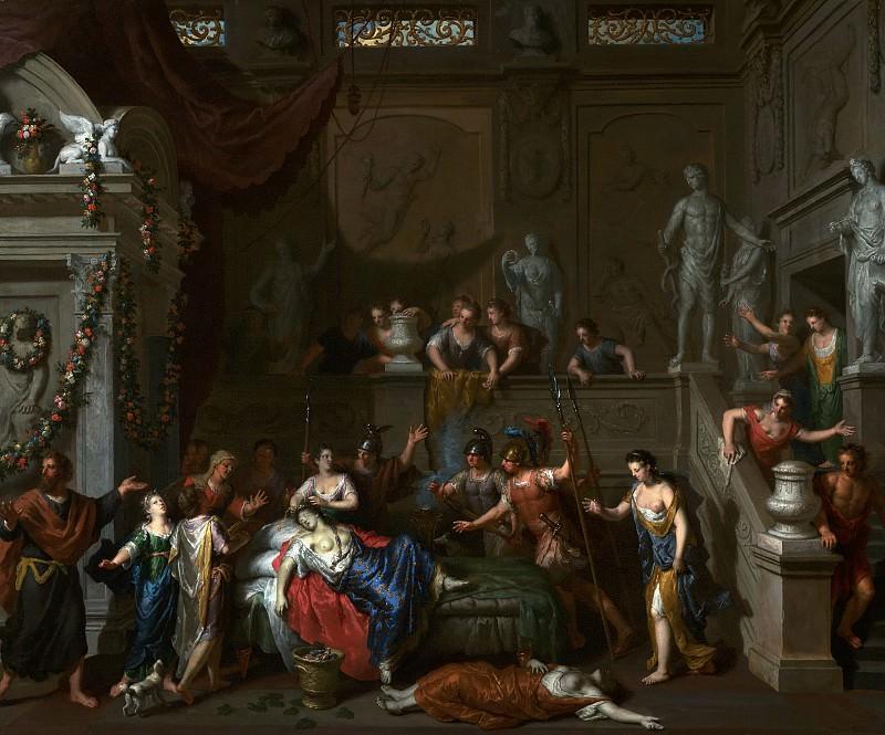 Хут Герард I (1648 Зальтбоммель - 1733 Гаага) - Смерть Клеопатры (57х69 см) 1700-10. Музей Гетти
