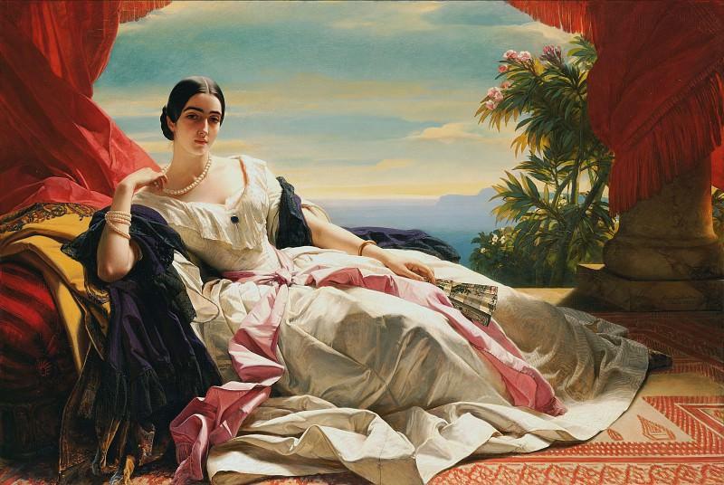 Винтергальтер Франц Ксавьер (1805 Менценшванд - 1873 Франкфурт) - Портрет принцессы Леониллы (142х212 см) 1843. J. Paul Getty Museum