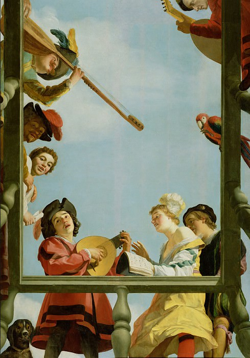 Хонтхорст Геррит ван (Утрехт 1592-1656) - Ммузыканты на балконе (209х114 см) 1622. J. Paul Getty Museum
