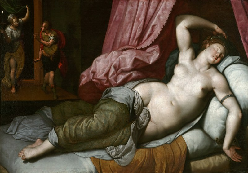 Jacob de Backer (Antwerp ok1545, ok1595) - Paris in the bedroom of Elena. J. Paul Getty Museum