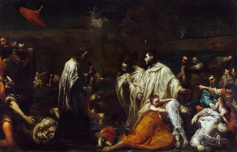 Креспи Джузеппе Мария (Ло Спаньоло) (Болонья 1665-1747) - Св Бернардо Толомеи в Сиене во время чумы (43з67 см) ок1735. J. Paul Getty Museum