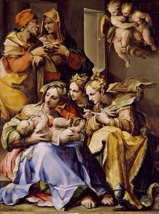 Бецци Джованни Франческо (прозв Носаделла)(Болонья 1510-1571) - Св Семейство со свв Анной, Екатериной Александрийской и Марией Магдалиной (100х77 см) 1560-е. J. Paul Getty Museum