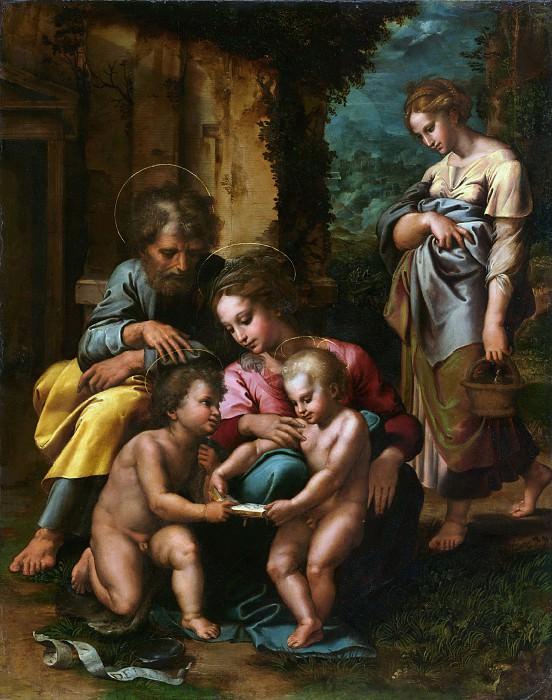 Романо Джулио (Джулио Пиппи) (1499 Рим - 1546 Мантуя) - Святое Семейство (78х62 см) 1250-23. Музей Гетти
