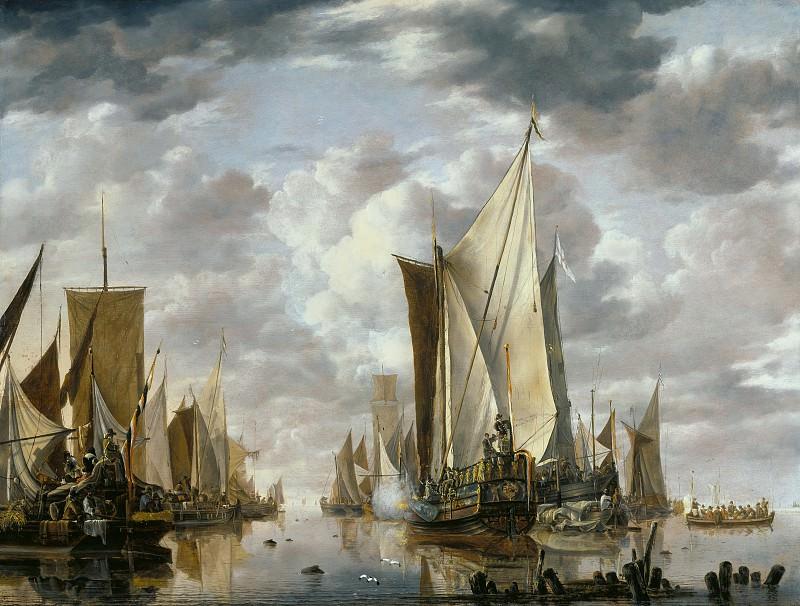 Капелле Ян ван де (Амстердам 1624-1679) - Корабельный парад с салютирующим флагманцем (70х92 см) 1649. J. Paul Getty Museum