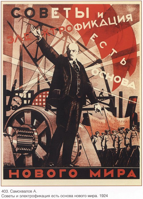 Councils and electrification are the basis of a new world. (Samokhvalov A.). Soviet Posters