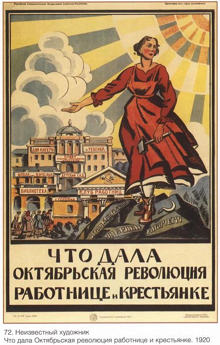 Что дала Октябрьская революция работнице и крестьянке (Неизвестный художник). Soviet Posters