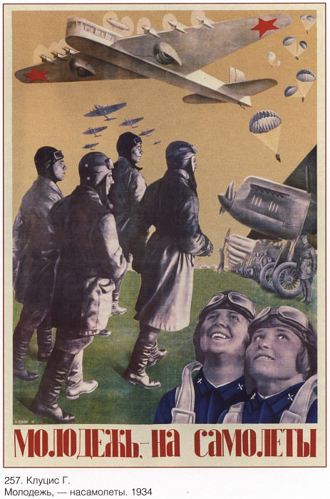 Youth, - on airplanes. (Klutsis G.). Soviet Posters
