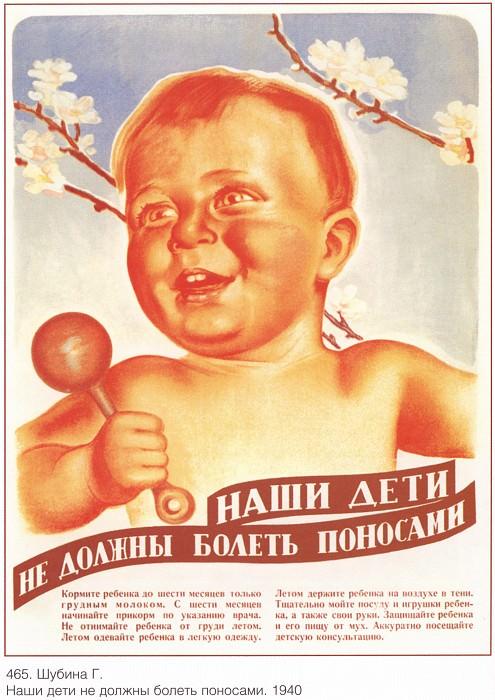 Наши дети не должны болеть поносами. (Шубина Г.). Плакаты СССР