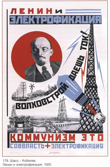 Lenin and electrification. (Chass - Kobelev). Soviet Posters