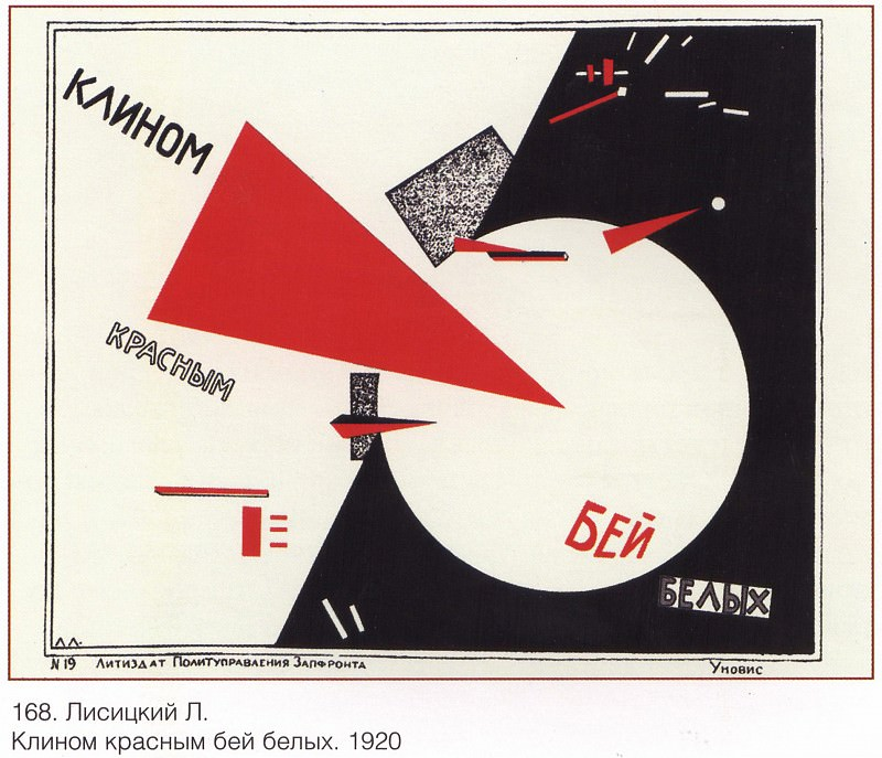 A red wedge with white wedges. (Lisitsky L.). Soviet Posters