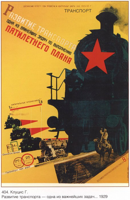 The development of transport is one of the most important tasks for the implementation of the five-year plan (G. Klutsis). Soviet Posters