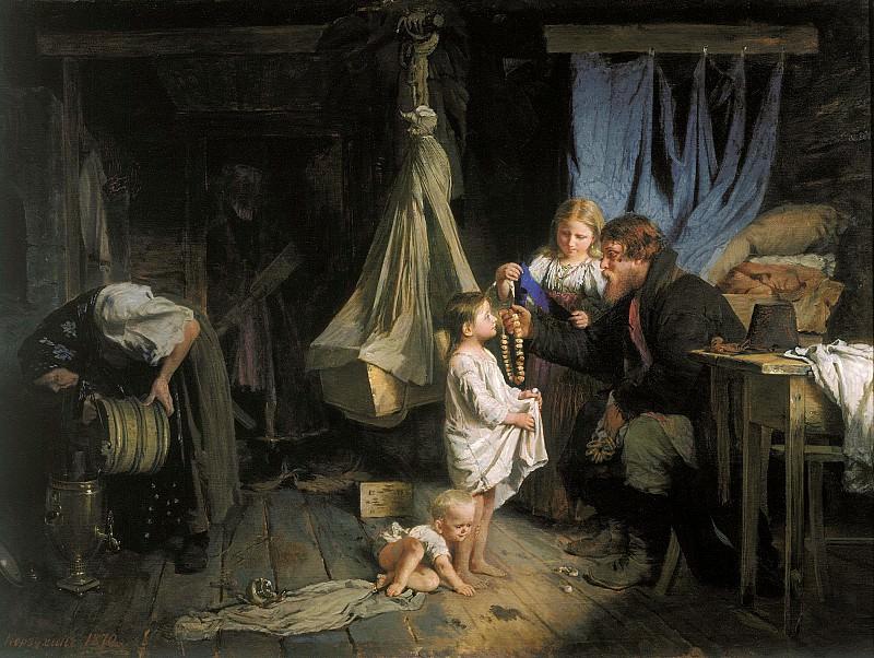 Возвращение из города 1870 холст масло 63х89 см. часть 1 - русских и советских худ Русские и советские художники