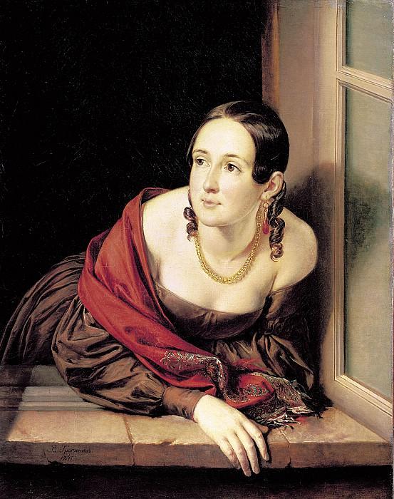 Женщина в окне Казначейша 1841 Холст масло 88х68 см. часть 1 - русских и советских худ Русские и советские художники