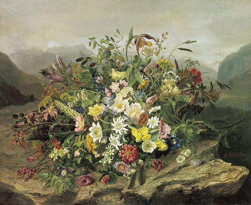Букет цветов на фоне горного пейзажа. часть 1 - русских и советских худ Русские и советские художники