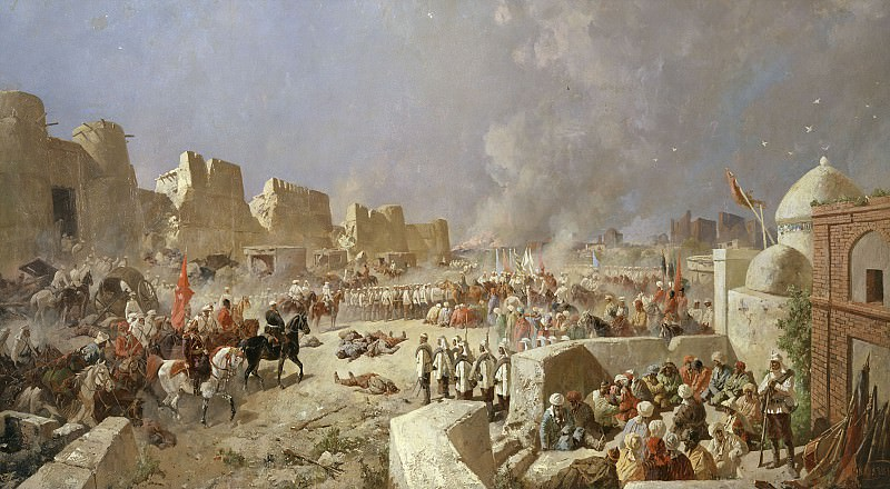 Вступление русских войск в Самарканд 8 июня 1868 года 1888 Холст масло 179х310 см. часть 1 - русских и советских худ Русские и советские художники