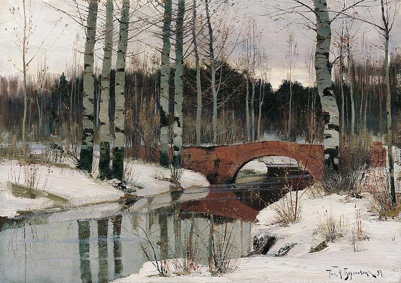Оттепель в Гатчине 1897 Холст масло 44х60 см. часть 1 - русских и советских худ Русские и советские художники