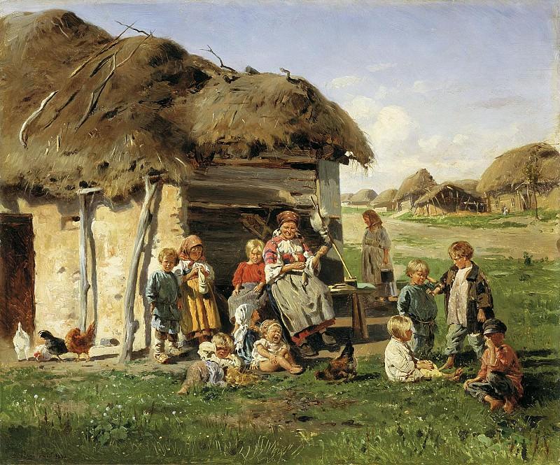 Крестьянские дети 1890 Холст масло. часть 1 - Russian and soviet artists Русские и советские художники