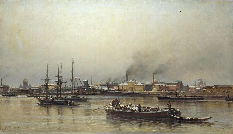 Набережная Невы 1876 Холст масло. часть 1 - русских и советских худ Русские и советские художники