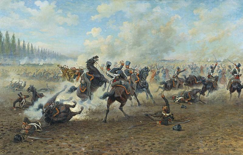 Кавалерийский бой Холст масло. часть 1 - русских и советских худ Русские и советские художники