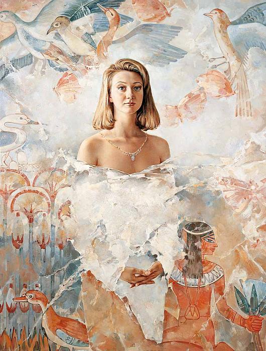 Девушка с лотосами и птицами Холст масло 178 х 136 см 1996 г. часть 1 - русских и советских худ Русские и советские художники