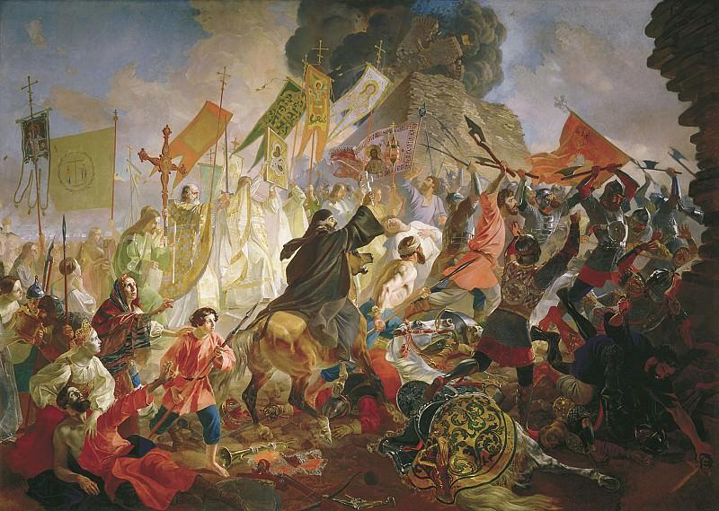 Осада Пскова польским королём Стефаном Баторием в 1581 году 1843 Холст масло Холст масло 48. часть 1 - русских и советских худ Русские и советские художники