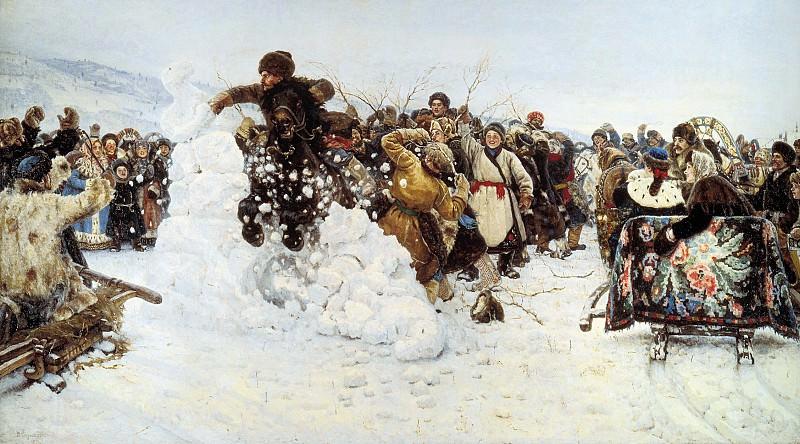 Взятие снежного городка 1891 Холст масло 156х282 см. часть 1 - русских и советских худ Русские и советские художники
