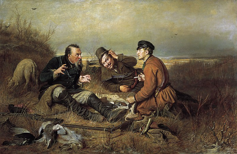 Охотники на привале 1871 Холст масло 119х183 см. часть 1 - русских и советских худ Русские и советские художники