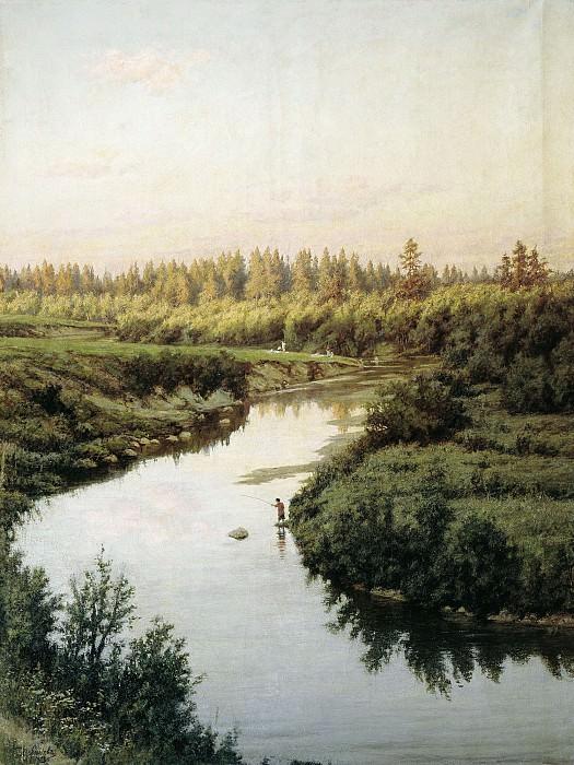 Пейзаж с рекой 1900 холст масло 145х110 см. часть 1 - русских и советских худ Русские и советские художники