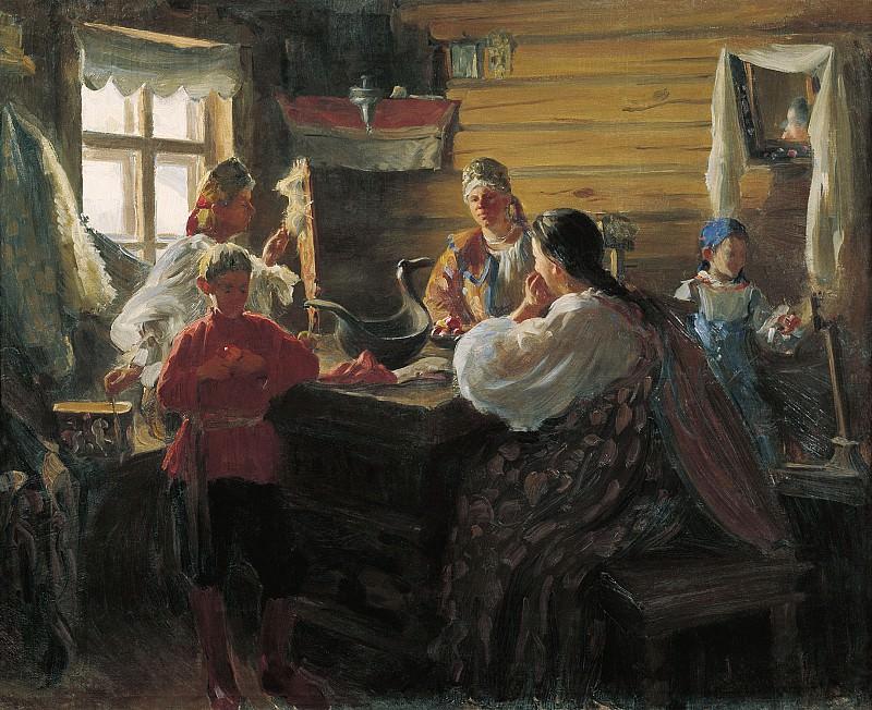 Зимним вечером Холст масло. часть 1 - русских и советских худ Русские и советские художники