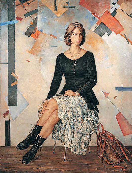 Женский портрет на фоне абстрактной живописи Холст масло 180 х 135 см 1994 г. часть 1 - русских и советских худ Русские и советские художники