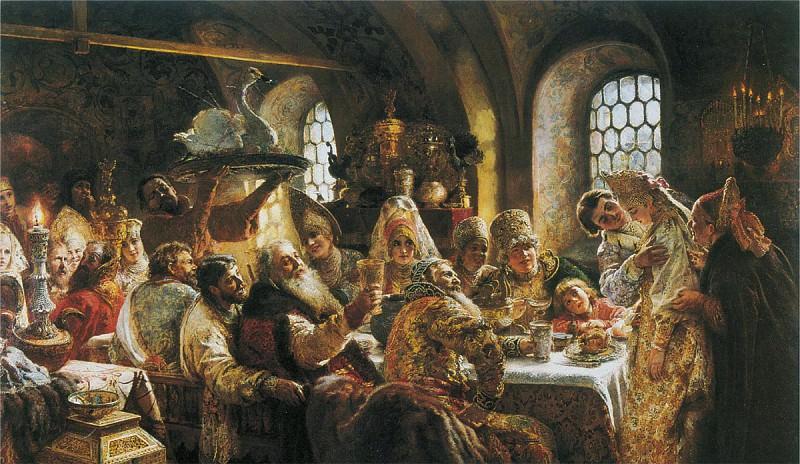 Боярский свадебный пир в XVII веке 1883 холст масло 236х400 см. часть 1 - русских и советских худ Русские и советские художники