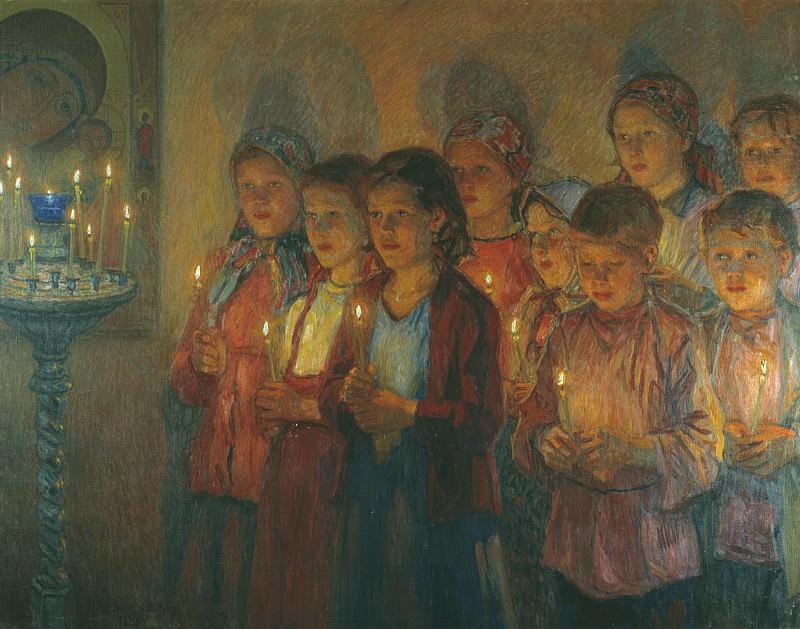 В церкви Холст масло. часть 1 - русских и советских худ Русские и советские художники