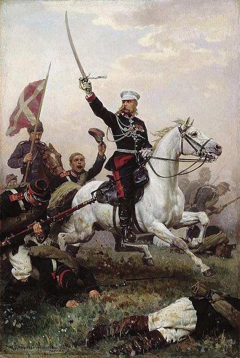 Генерал НДСкобелев на коне 1883 Холст масло 47х32 см. часть 1 - русских и советских худ Русские и советские художники